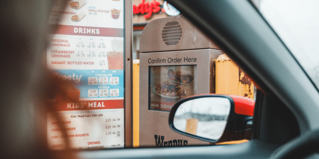 Ordering at fast food restaurant